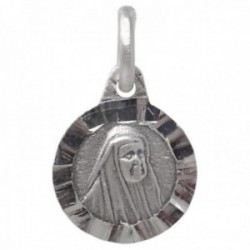 Medalla plata Ley 925m Sor Ángela de la Cruz 11mm. maciza redonda lentejuela detalles tallados cerco