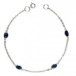 Pulsera plata Ley 925m cadena forzada 4 piedras azules [981]