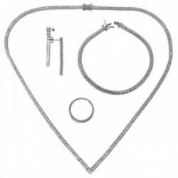 Juego plata Ley 925m rodiada gargantilla pendientes sortija pulsera circonitas cuadradas