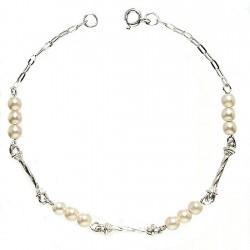 Pulsera plata Ley 925m perlas cierre reasa [982]