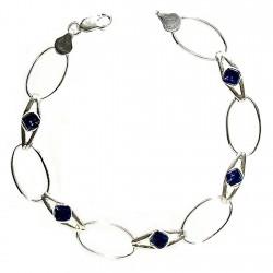 Pulsera plata Ley 925m 5 piedras azules [1068]