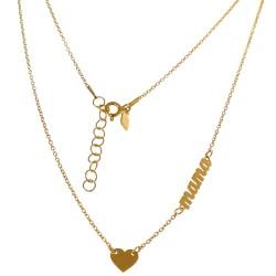 Gargantilla plata Ley 925m chapada oro cadena forzada 43.5cm. motivo mamá corazón