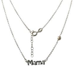 Gargantilla plata Ley 925m cadena rolo 43cm. motivo MAMÁ 16mm. detalle perla 5mm. sintética