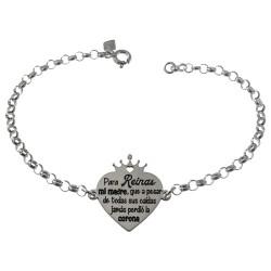 Pulsera plata Ley 925m cadena rolo 17cm. motivo corazón corona 20x15mm. mensaje dedicatoria