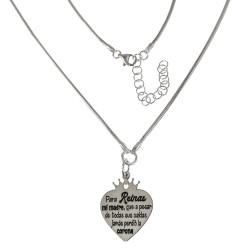 Gargantilla plata Ley 925m cola de topo 40cm. colgante corazón corona mensaje mamá