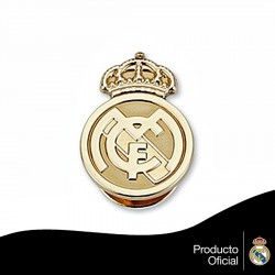 Pin escudo Real Madrid oro de ley 18k 16mm. liso [6444]