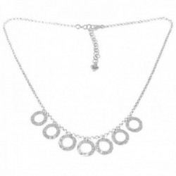 Gargantilla plata de Ley 925m rolo 37.5cm. mujer seis círculos tallados cierre mosquetón
