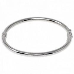Pulsera rígida plata Ley 925m brazalete ovalada lisa abierta