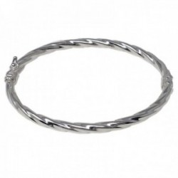 Pulsera rígida plata de Ley 925m  brazalete ovalada detalle gallón abierta