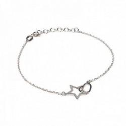 Pulsera plata Ley 925m forzada 17cm. detalle corazón y estrella cierre reasa