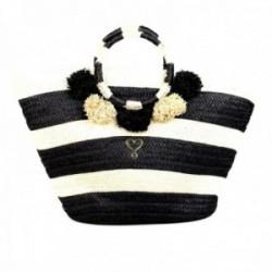 Capazo Lola Casademunt bolso de playa rayas blanco y negro