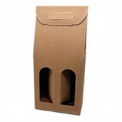 Caja botellero hawana 2 botellas cartón madera fino ondulado ventana 38 cm.