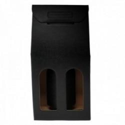 Caja botellero 2 botellas cartón negro fino ondulado de lujo ventana 38.5cm