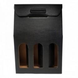Caja botellero 3 botellas cartón negro fino ondulado de lujo ventana 38cm.