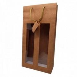 Bolsa botellero ventana 2 botellas papel madera fino asa cordón textil dorado 38cm.