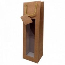 Bolsa botellero ventana 1 botella papel madera fino asa cordón textil dorado 38cm.
