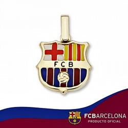 Colgante escudo F.C. Barcelona oro de ley 18k 16mm. esmalte [6505]