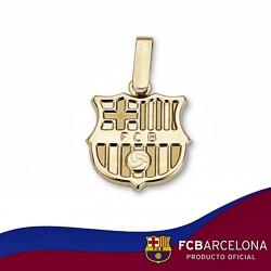 Colgante escudo F.C. Barcelona oro de ley 18k 14mm. liso [6506]