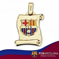 Pergamino escudo F.C. Barcelona oro de ley 18k grande esmalte [6511]
