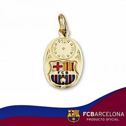 Medalla escudo F.C. Barcelona oro de ley 18k bebé hora ovalada [6519]