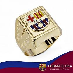 Sello escudo F.C. Barcelona oro de ley 18k hueco cuadrado [6521]