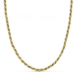 Cordón cadena oro 18k bicolor salomónico 45cm. 3mm. [AA1602]