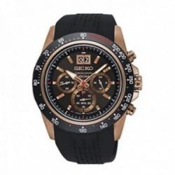 Reloj Seiko hombre SPC250P1 Neo Sports acero inoxidable oro rosa. Pulsera negra
