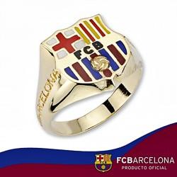 Sello escudo F.C. Barcelona oro de ley 18k caballero silueta [6526]