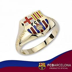 Sello escudo F.C. Barcelona oro de ley 18k cadete silueta [6527]
