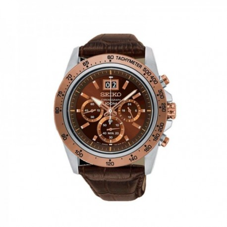 Reloj Seiko Hombre SPC248P1 Neo Sports Cuarzo Crono Bisel Rosé Pulsera Piel