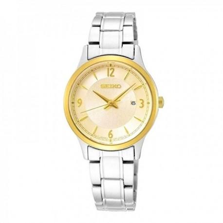Reloj Seiko Mujer SXDH04P1 50 Aniv Edición Especial Visualización Fecha Acero Inoxidable Bisel Dorado