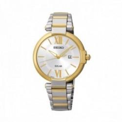 Reloj Seiko Mujer SUT154P1 Solar Bicolor Visualización Fecha Acero Inoxdibale Bicolor