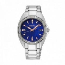 Reloj Seiko Mujer SKK881P1 Ladies Cuarzo 18 Diamantes Visualización Fecha Acero Inoxidable