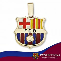 Colgante escudo F.C. Barcelona oro de ley 9k 20mm. esmalte [6531]