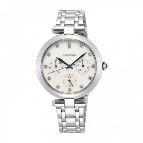 Reloj Seiko Mujer SKY663P1 Ladies Esfera Con Diamantes Acero Inoxidable Tres Agujas Azules