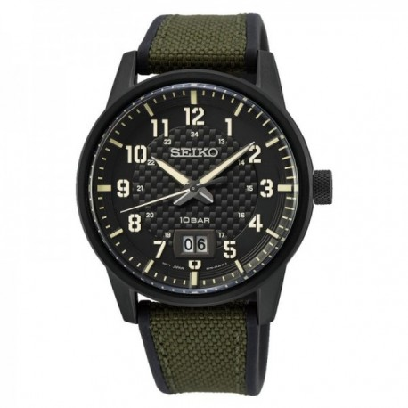 Reloj Seiko Hombre SUR325P1 Neo Sports Agujas E Índices Verdes Con Lumibrite Esfera Negra