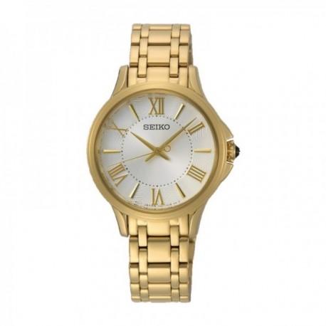 Reloj Seiko Mujer SRZ528P1 Ladies Con Caja Y Brazalete En Acero Dorado Números Romanos Dorados