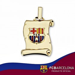 Pergamino escudo F.C. Barcelona oro de ley 9k mediano esmalte [6537]