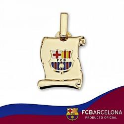 Pergamino escudo F.C. Barcelona oro de ley 9k pequeño esmalte [6538]