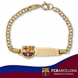 Pulsera escudo F.C. Barcelona oro de ley 9k esclava 1a postura [6542]