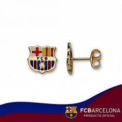 Pendientes escudo F.C. Barcelona oro de ley 9k esmalte [6545]