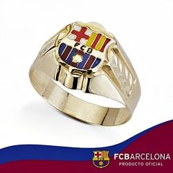 Sello escudo F.C. Barcelona oro de ley 9k hueco esmalte espiga [6547]