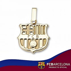 Colgante escudo F.C. Barcelona oro de ley 9k 16mm. liso [6550]