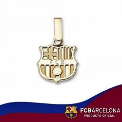 Colgante escudo F.C. Barcelona oro de ley 9k 12mm. liso [6552]