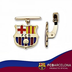 Gemelos escudo F.C. Barcelona oro de ley 9k amarillo esmalte [6559]