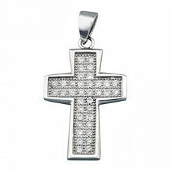Cruz crucifijo plata Ley 925m rodiada circonita rectangular [6572]