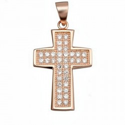 Cruz crucifijo plata Ley 925m baño rosa circonita rectangular [6573]