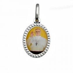 Colgante medalla plata Ley 925m rodiada Papa Francisco 14mm. [6575]