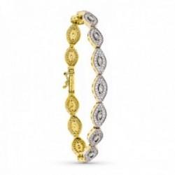 Pulsera oro bicolor 18k mujer semirigida circonitas semirígida piedras forma ovalada