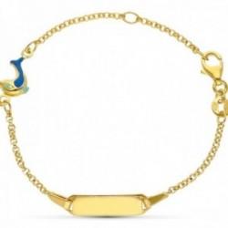 Esclava pulsera oro 18k niño 16 cm. forzada detalle delfín eslmaltado pulsera mosquetón chapa lisa